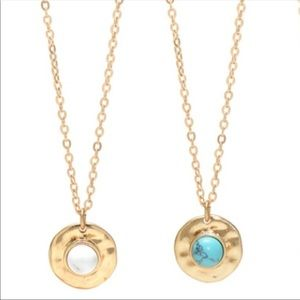 Jewelry - Natural Howlite Delicate Medallion Necklace